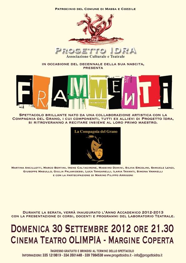 """spettacolo """"Frammenti"""" con Comp. del grano e Progetto Idra"""